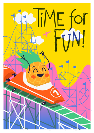 Summer poster with pineapple riding down in a wagon on rollercoaster amusement ride at a fun fair festival. Vector illustration for your invitations and greeting cards