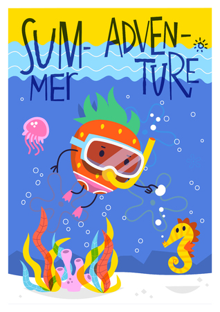 Summer adventure vector poster card. Strawberry swimming at the bottom of the ocean with a sea horse and a jellyfish. Illustration. Illustration