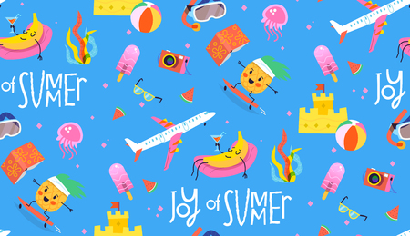 Colorful pattern with blue backgroung and summer characters and elements