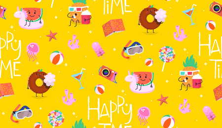 Colorful summer pattern with yellow background. Cute characters having fun