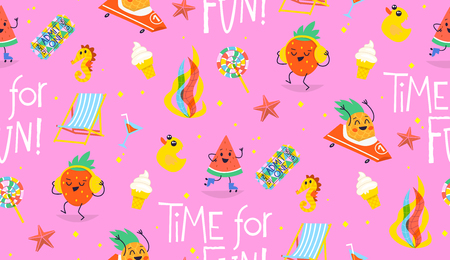Colorful summer pattern with cute characters having fun in relaxing situations Фото со стока