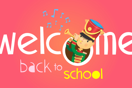 Welcome back to school poster. With a boy playing on trumpet in uniform of school band uniform.