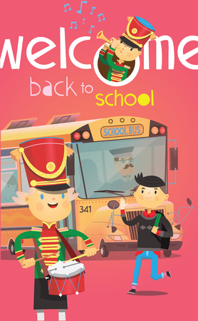 Welcome back to school poster with school bus and children greeting each other in the beginning of the year. Vector illustrations Иллюстрация