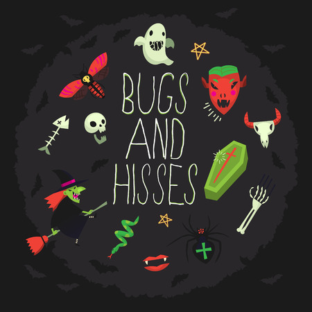 Bugs and hisses greeting card with spooky elements floating around wishing happy halloween. Vector illustration with dark background and red, green, black and white elements Stock Illustratie