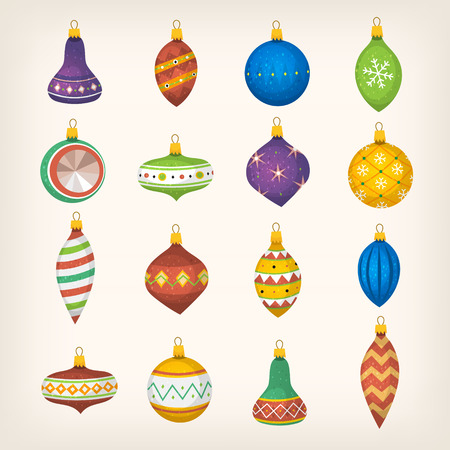Christmas tree balls bells and colorful decorations. Фото со стока