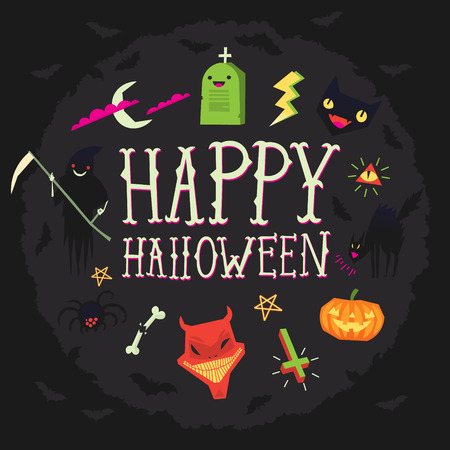 Happy Halloween greeting card with spooky elements floating around. Vector illustration with dark background and pink, green, black and white elements Stock Illustratie