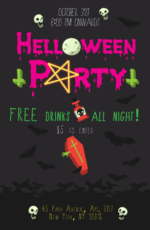 Halloween party poster with dark bats flying at background, pink header, crosses, pentagram and coffin. Vector illustration can be adjusted to your needs. Иллюстрация