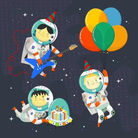 Children astronauts wearing space suits and party hats floating in outer space. Birthday party in cosmic style. Иллюстрация