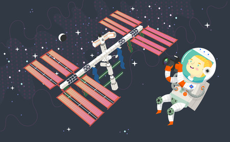 Woman astronaut in outer space is taking pictures of the space station, the moon and constellations Иллюстрация