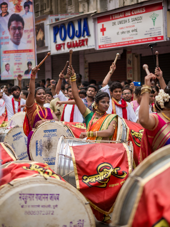 Mumbai, India - March 18, 2018: Hindu New Year Parade (Gudhi Padva) is an annual parade on the famous Girgaon, South Mumbai involving musicians, dancers and artists from various parts of India