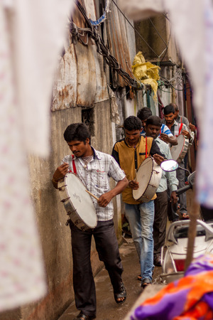 MUMBAI, INDIA - JULY 10,2016 : Local band playing traditional instruments at Mumbai