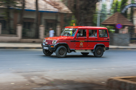 MUMBAI, INDIA - JANUARY 14, 2017 - Fire brigade running on streets of Mumbai