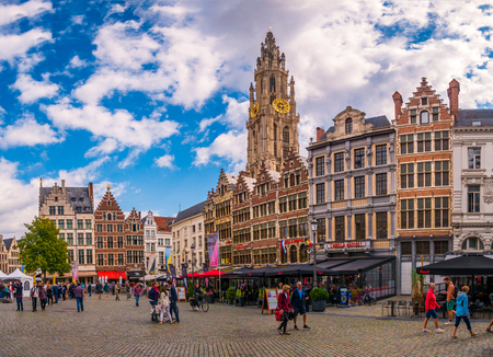 Antwerp, Belgium - August 25, 2018 : Market square and Cathedral of Our Lady,Cityscape of Antwerp, the capital of Antwerp province in Flanders and most populous city proper in Belgium. Editorial