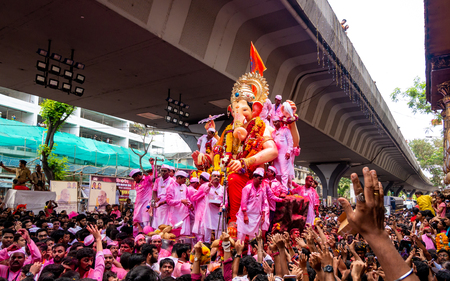 Mumbai, India - September 23,2018: Thousands of devotees bid adieu to Lord Ganesha in Mumbai during Ganesh Visarjan which marks the end of the ten-day-long Ganesh Chaturthi festival. Stock Photo - 120228016