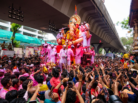 Mumbai, India - September 23,2018: Thousands of devotees bid adieu to Lord Ganesha in Mumbai during Ganesh Visarjan which marks the end of the ten-day-long Ganesh Chaturthi festival. Stock Photo - 120228018