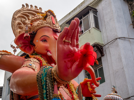 Mumbai, India - September 23,2018: Thousands of devotees bid adieu to Lord Ganesha in Mumbai during Ganesh Visarjan which marks the end of the ten-day-long Ganesh Chaturthi festival. Stock Photo - 120228030