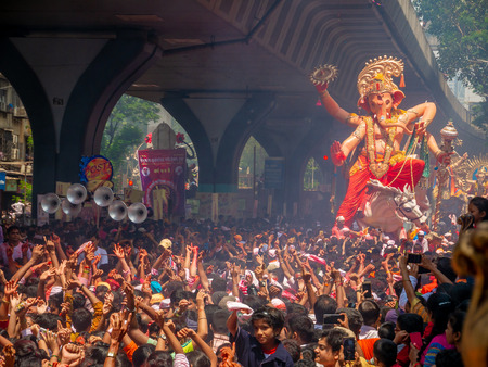 Mumbai, India - September 23,2018: Thousands of devotees bid adieu to Lord Ganesha in Mumbai during Ganesh Visarjan which marks the end of the ten-day-long Ganesh Chaturthi festival. Stock Photo - 120228046