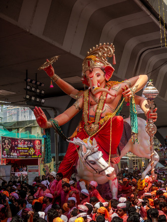 Mumbai, India - September 23,2018: Thousands of devotees bid adieu to Lord Ganesha in Mumbai during Ganesh Visarjan which marks the end of the ten-day-long Ganesh Chaturthi festival.