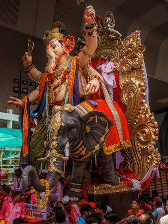 Mumbai, India - September 23,2018: Thousands of devotees bid adieu to Lord Ganesha in Mumbai during Ganesh Visarjan which marks the end of the ten-day-long Ganesh Chaturthi festival. Stock Photo - 120228066