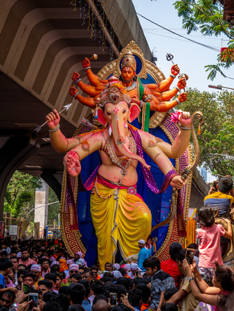 Mumbai, India - September 23,2018: Thousands of devotees bid adieu to Lord Ganesha in Mumbai during Ganesh Visarjan which marks the end of the ten-day-long Ganesh Chaturthi festival. Stock Photo - 120228077
