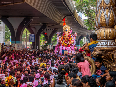 Mumbai, India - September 23,2018: Thousands of devotees bid adieu to Lord Ganesha in Mumbai during Ganesh Visarjan which marks the end of the ten-day-long Ganesh Chaturthi festival. Stock Photo - 120228085
