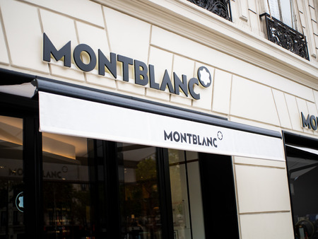Paris, France - August 15, 2018 : Montblanc store in Paris. Montblanc is a German manufacturer of luxury writing instruments, watches, jewellery and leather goods, often identified by their Snow peak logo.