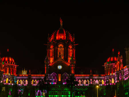 Mumbai, India - January 26, 2020 : Chhatrapati Shivaji Terminus railway station (CSTM), a UNESCO World Heritage Site in Mumbai, decorated/illuminated in India flag color lights