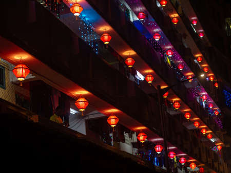 Mumbai, India - October 28,2019 : Colorful Akash Kandil / lantern lights Hanging outside houses on the occassion of Diwali Stock Photo