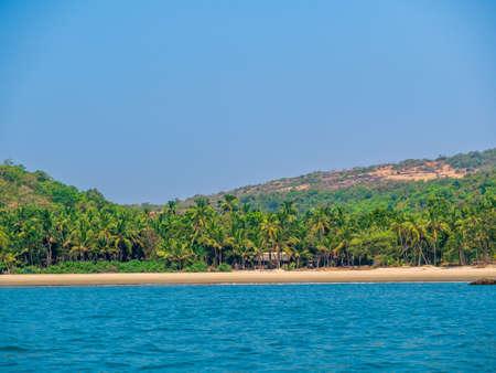 Beautiful golden sea rocks near Nivati beach in Malvan, India