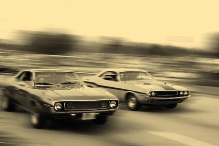 Vintage muscle car racing