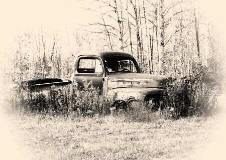 old pickup truck body in the junk yard Stock Photo