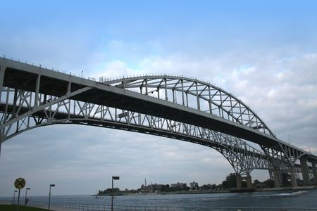 huron: Blue water bridge between america and canada  Stock Photo