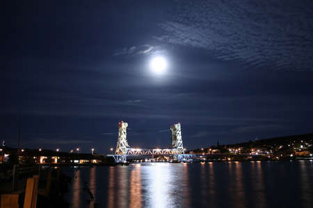 Houghton and hancock bridge in moon light  photo