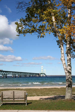 mackinac: Historic mackinac bridge -longest bridge in america Stock Photo