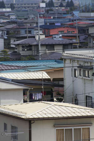 typical: Many houses in a typical Japanese town Stock Photo