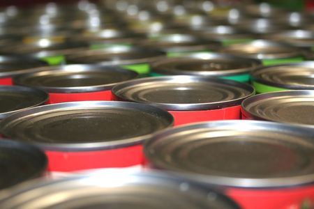 food industry: Food Cans For Charity Stock Photo