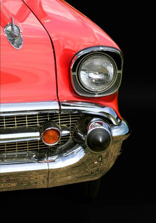 Red old car on black background Stock Photo - 1373811