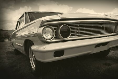 American muscle car with sepia color tone