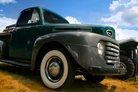 restored: old gray colored truck at classic car show