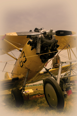 propulsion: A vintage airoplane showing propeller and front wheel