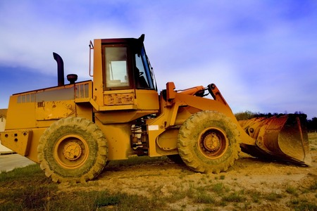 frontend: Heavy construction equipment wide angle photo shot in the evening time Stock Photo