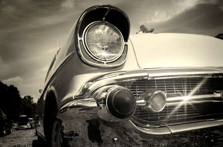 Well maintained sparkling Vintage car in black and white Stock Photo - 1463439
