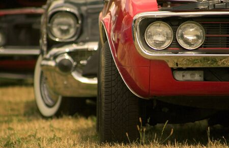 that: Close up shot of muscle cars that are lined up one after the other