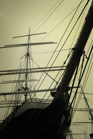 nautic: Masts of an old ship in the morning Stock Photo