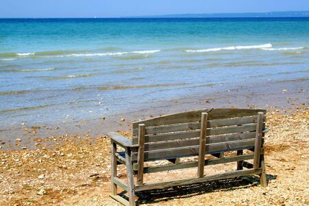 Bench at Lake shore of Mackinac in michigan Stock Photo - 1544294