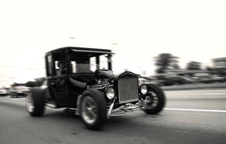 Black Vintage car cruissing on historic woodward avenue