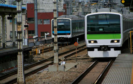 Local train between towns in Japan Stock Photo