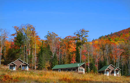 cabins at foot hill with blue sky background in michigan Stock Photo - 1557502