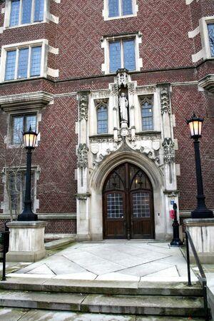 restored: historic building entrance in university of michigan