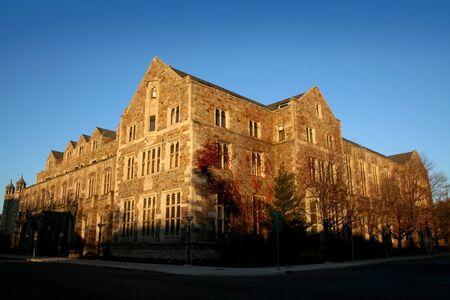 college campus: historic building in university of michigan campus ann arbor